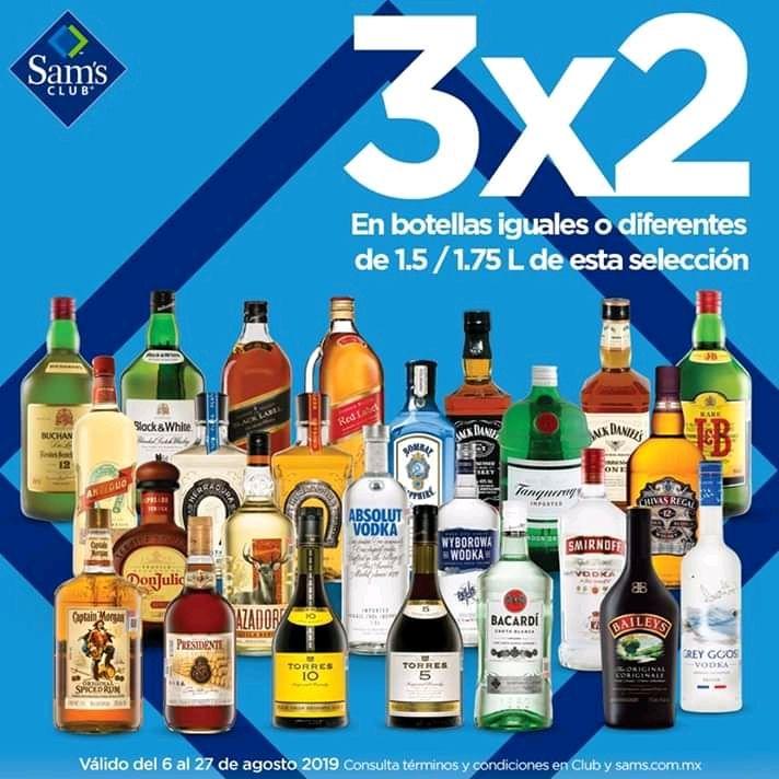 Sam's Club:  3X2 en Licores de 1.5/1.75 litros y 3X2 en Papelería