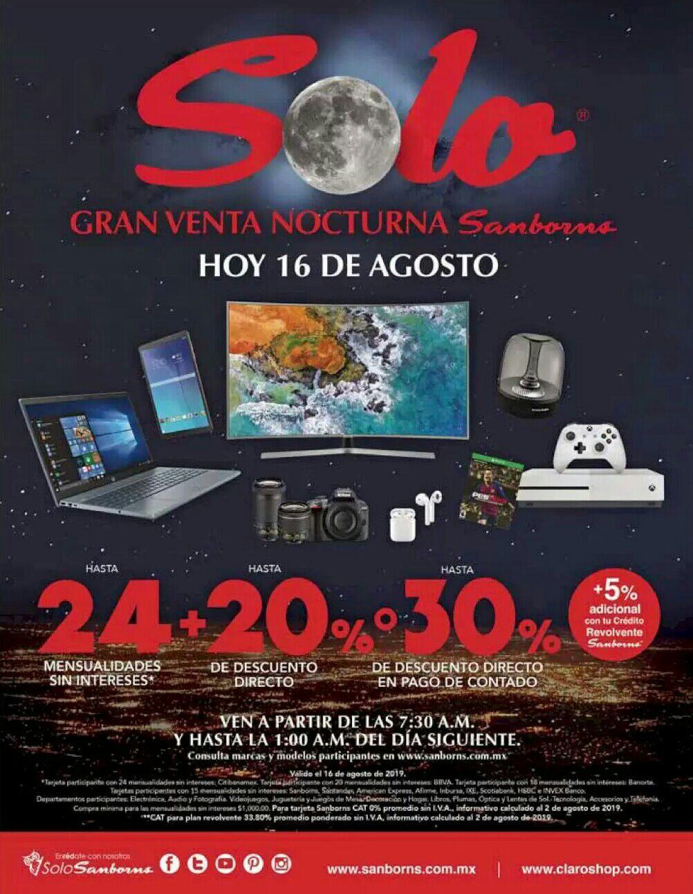 Sanborns: Gran Venta Nocturna 16 Agosto: Hasta 24 MSI + hasta 20% desc. directo... ó... Hasta 30% desc. directo
