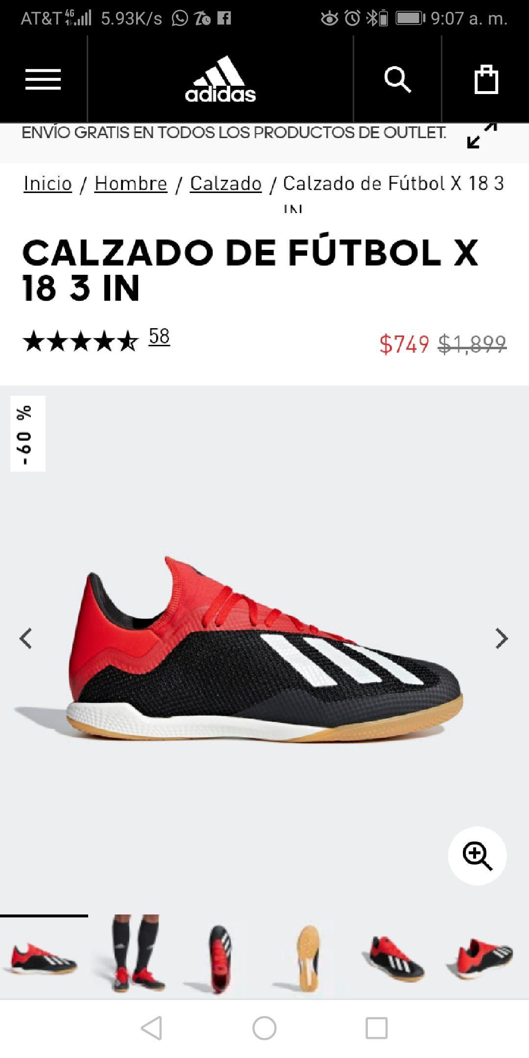 Adidas: Calzado de Fútbol x 18 3 In, de $1,899 a $749