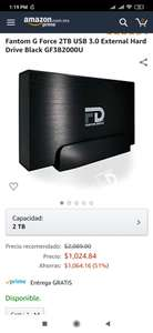 Amazon: disco duro externo 2tb fantom drives g force