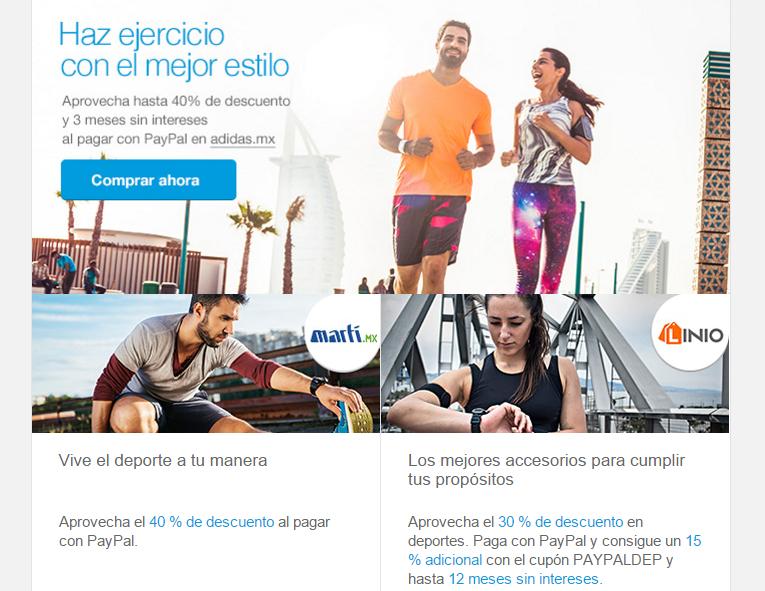 Paypal: tiendas de deportes