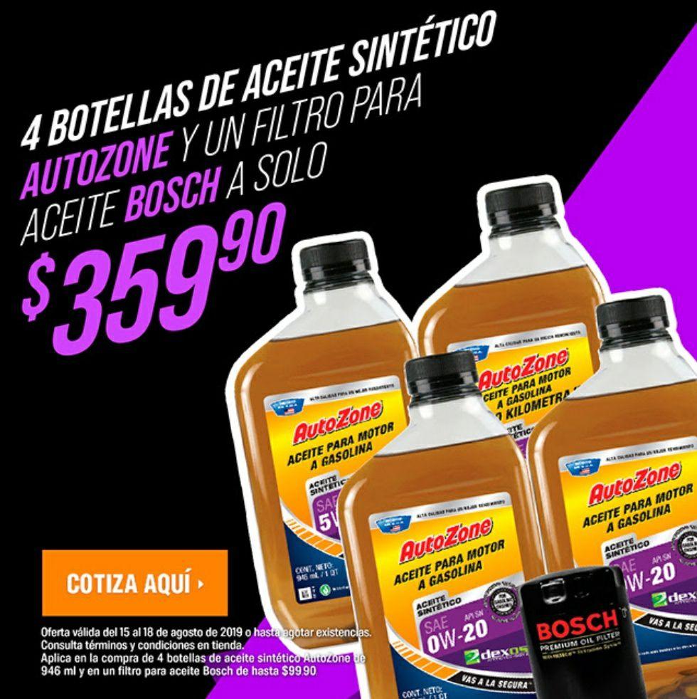 Autozone: 4 litros de aceite sintético y filtro de aceite Bosch