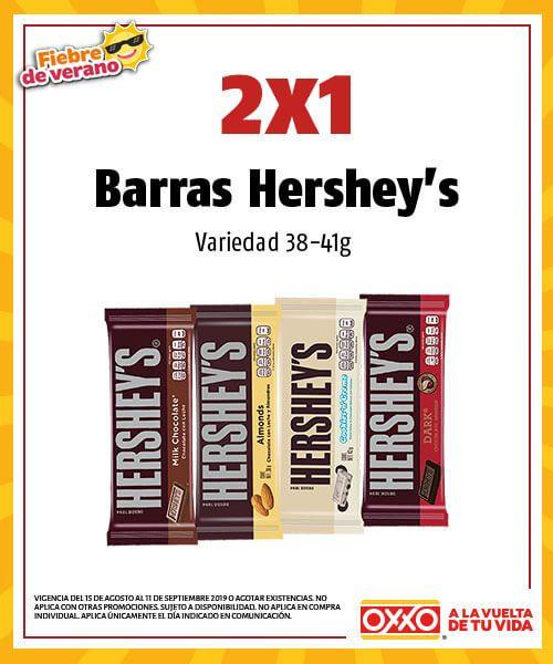 Oxxo: 2X1 en Chocolates Hershey's