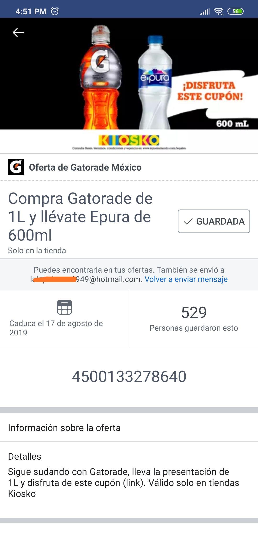 Tiendas Kiosko: Compra un Gatorade y te regalan un agua de 600 ml (usuarios seleccionados)