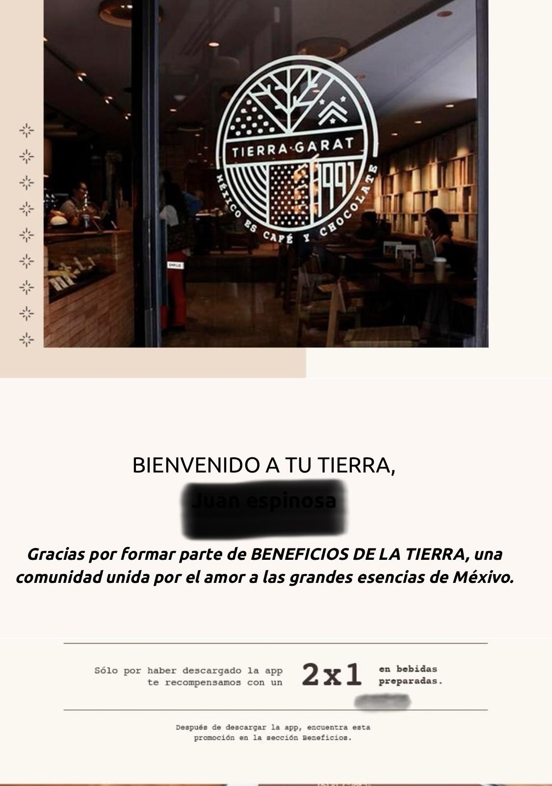 Tierra Garat: Café al 2x1 usuarios nuevos en primera compra con la app