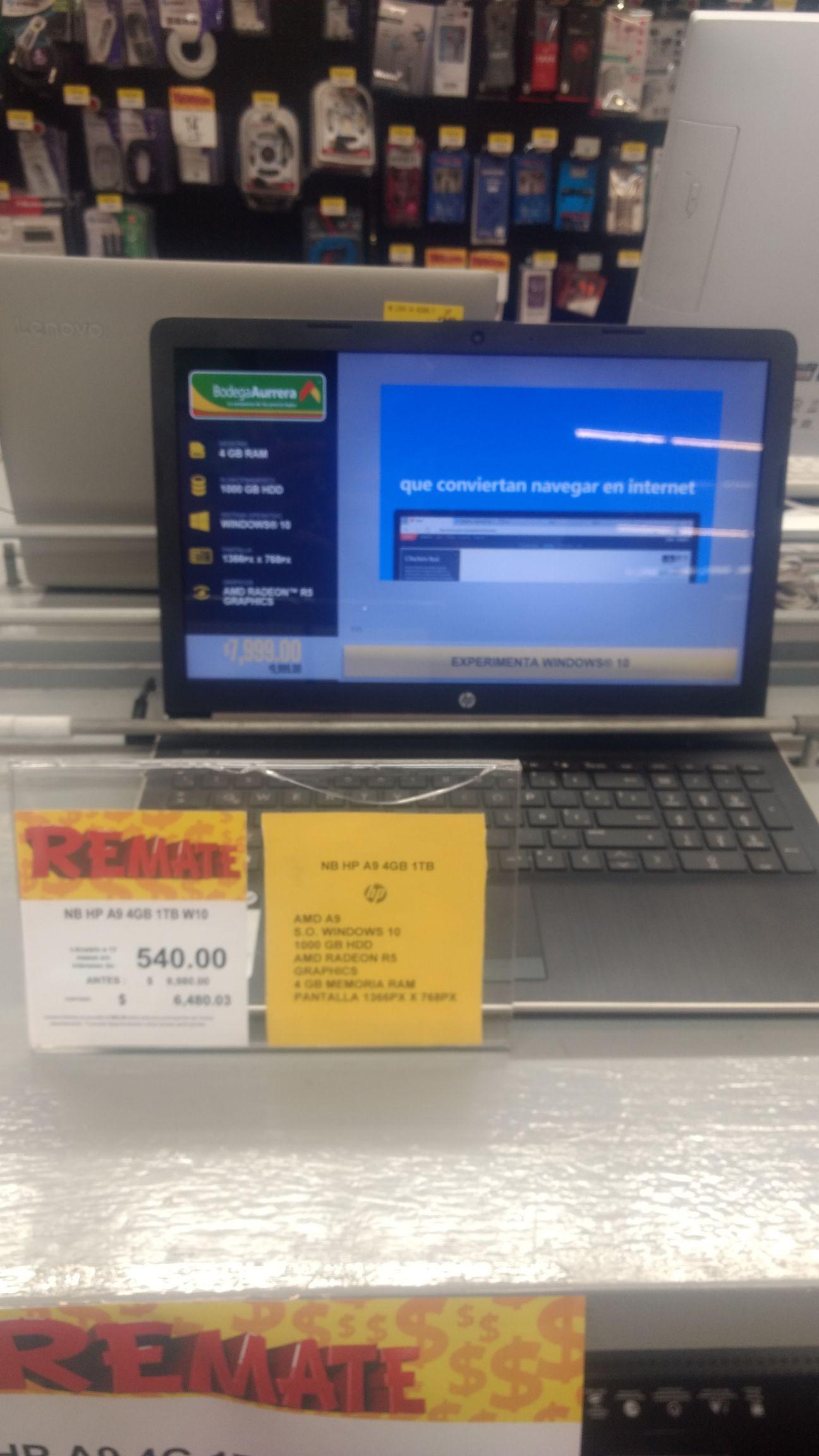 Bodega Aurrera: Laptop HP AMD A9 4GB RAM 1TB DD