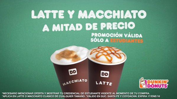 Dunkin Donuts: café latte o macchiato a mitad de precio para estudiantes (DF)