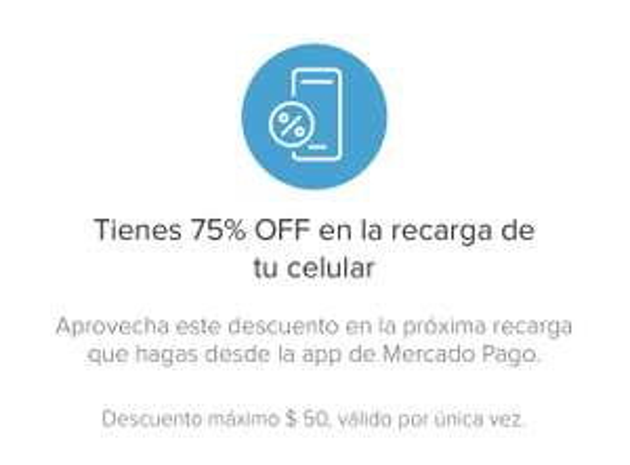 Mercado Pago: 75% OFF en la recarga de tu celular