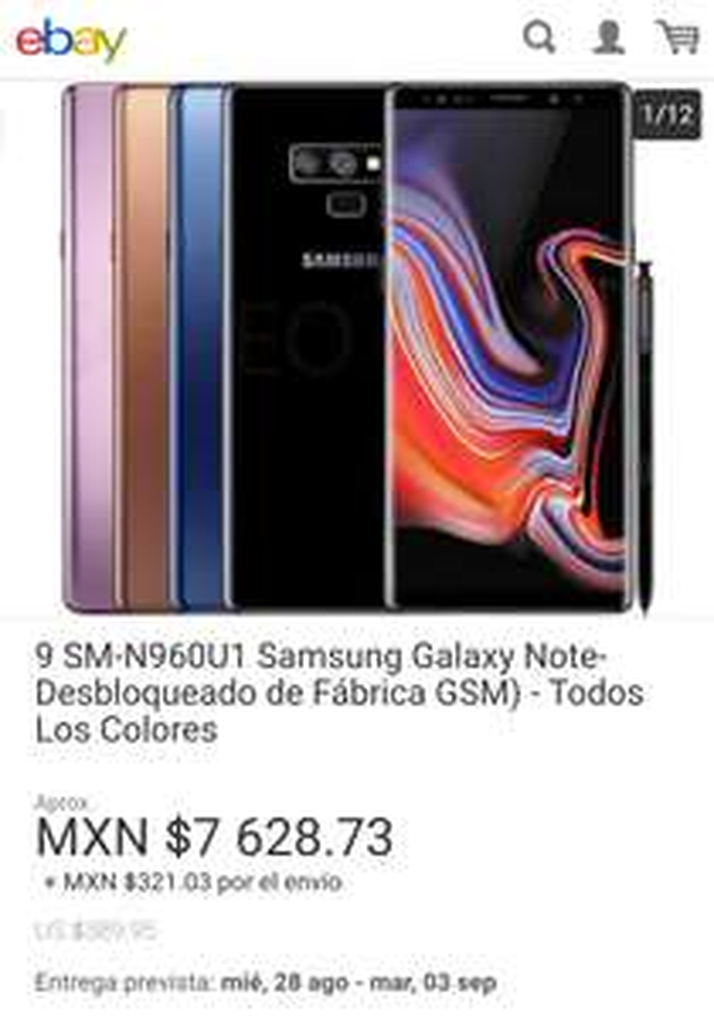 Ebay: Samsung Galaxy Note 9 libre, varios colores