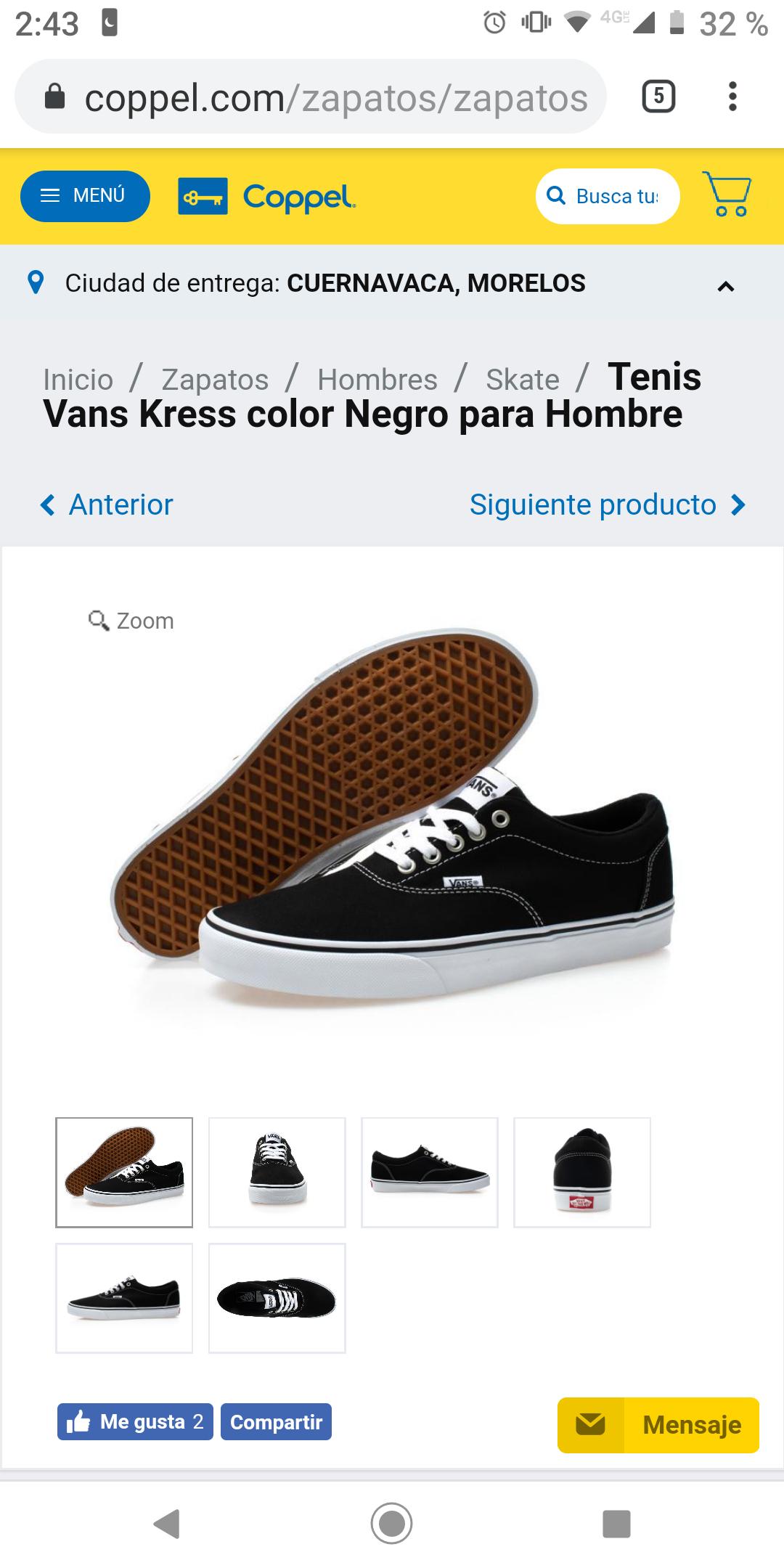 Coppel Tenis Vans Kress color Negro para Hombre