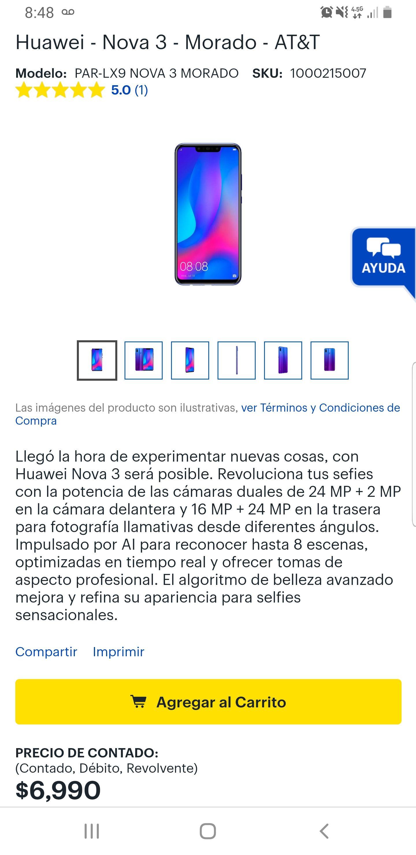 Best Buy Huawei Nova 3 + $600 en cupones + 12 meses sin intereses con Citi Banamex