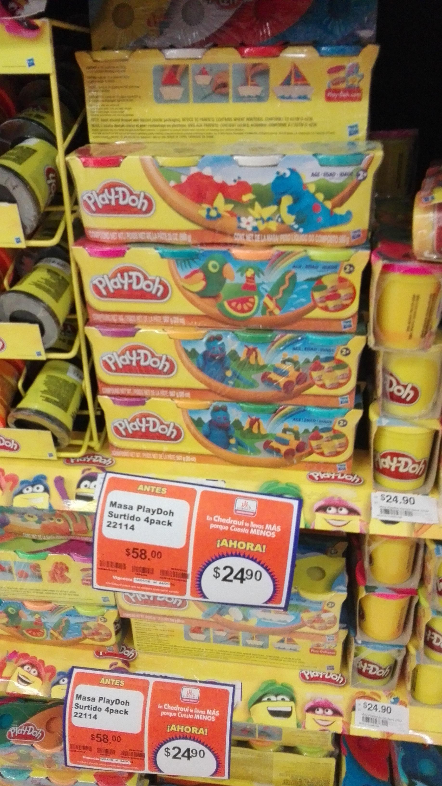 Paquete de 4 Play-Doh a $24.9 en Chedraui Plaza Cristal Tuxtla Gutierrez, Chis.