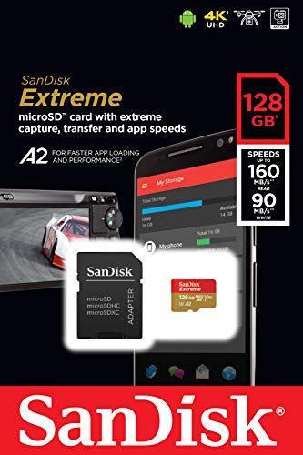 Amazon México: Micro SDXC Sandisk 4K Clase 10 A2 V30 RAM-3077 Memoria Extreme 128GB, velocidad hasta 160Mb de lectura C/Adaptador