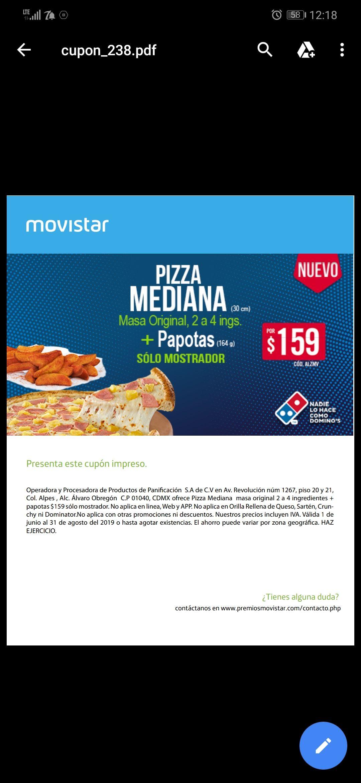 Domino's Pizza: Pizza mediana más papotas