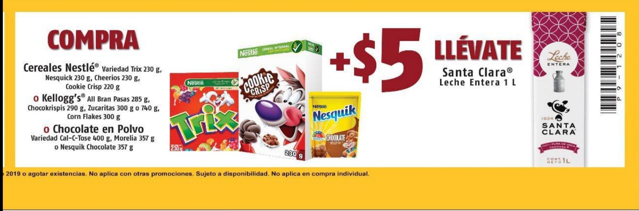 Oxxo: Compra algún cereal mas $5 y llevate una leche Santa Clara