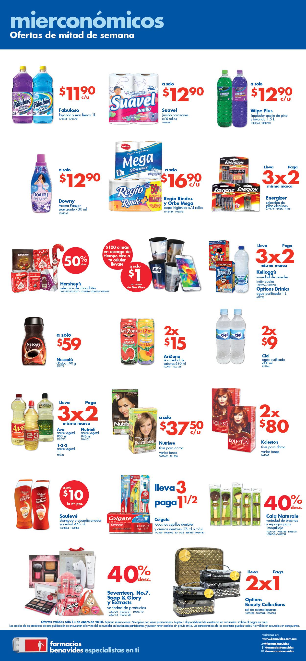 Mierconómicos Farmacias Benavides 13 de Enero; 3x2 en pilas Energizer y más