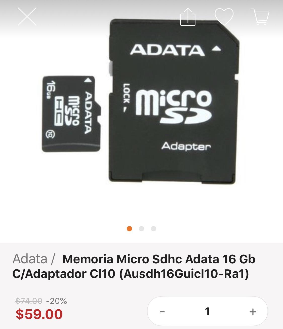 Lino: Micro sdhc de 16gb + $39 de envío
