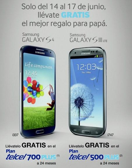 Samsung Galaxy S4 gratis en plan Telcel Plus 700 o el SIII LTE en Plus 500