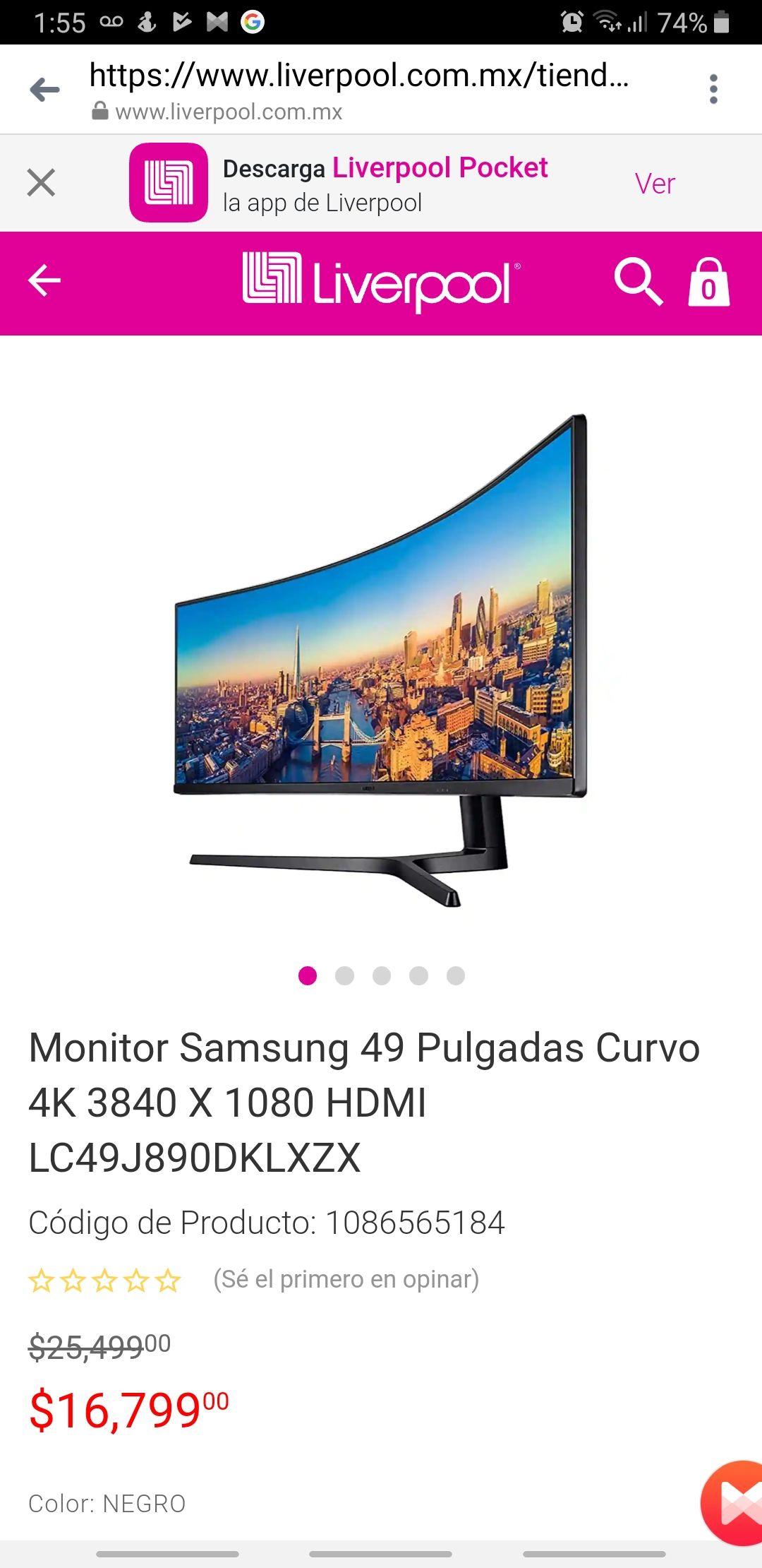"Liverpool: Monitor Samsung 4k 49"" curvo"