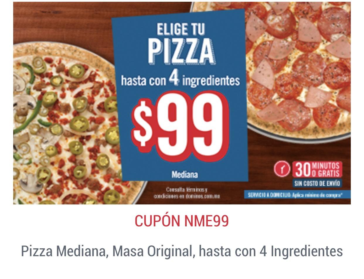 Dominos Pizza: Pizza mediana 4 ingredientes