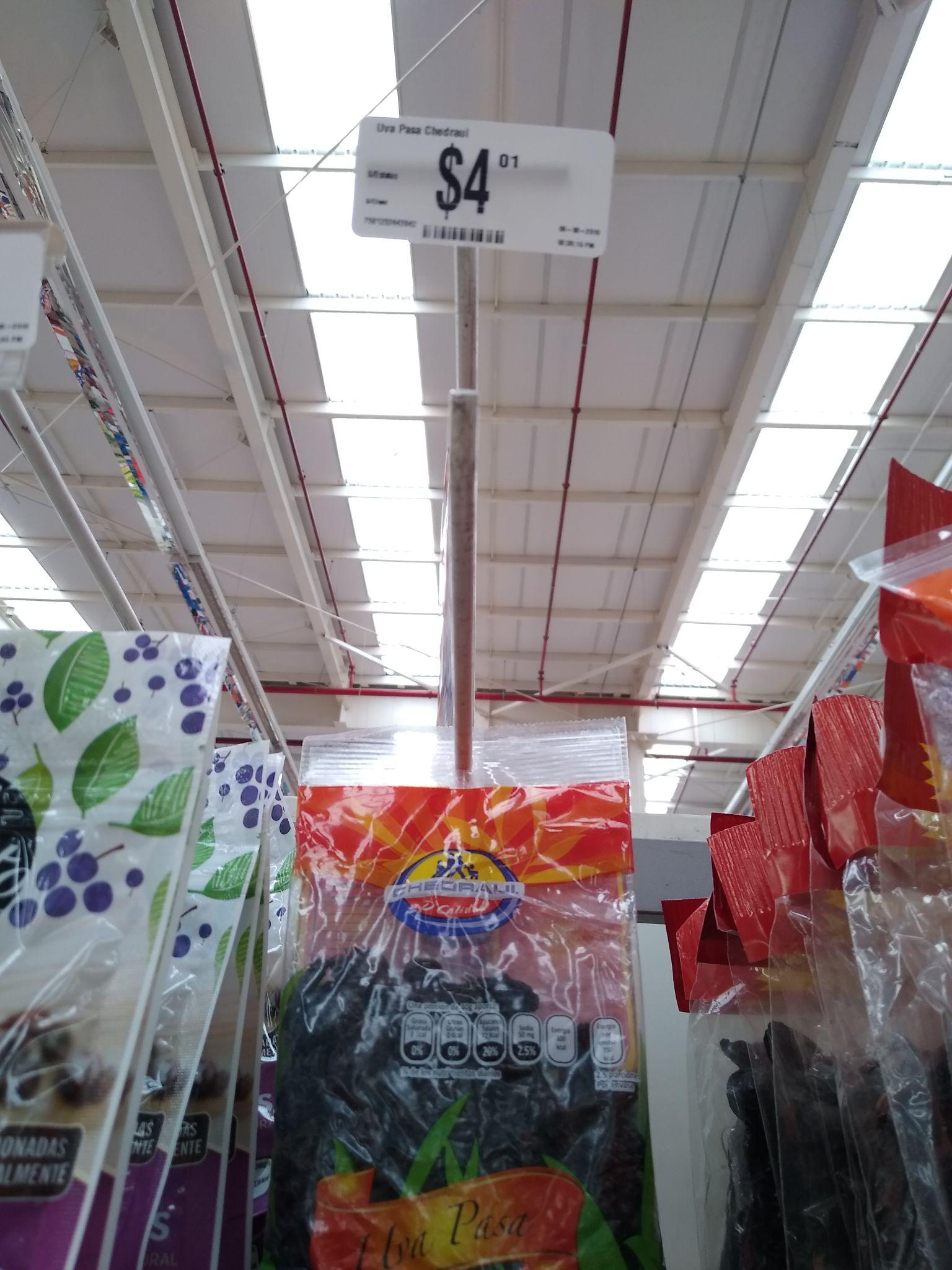Chedraui: bolsa de uva pasas de 100gr a $4