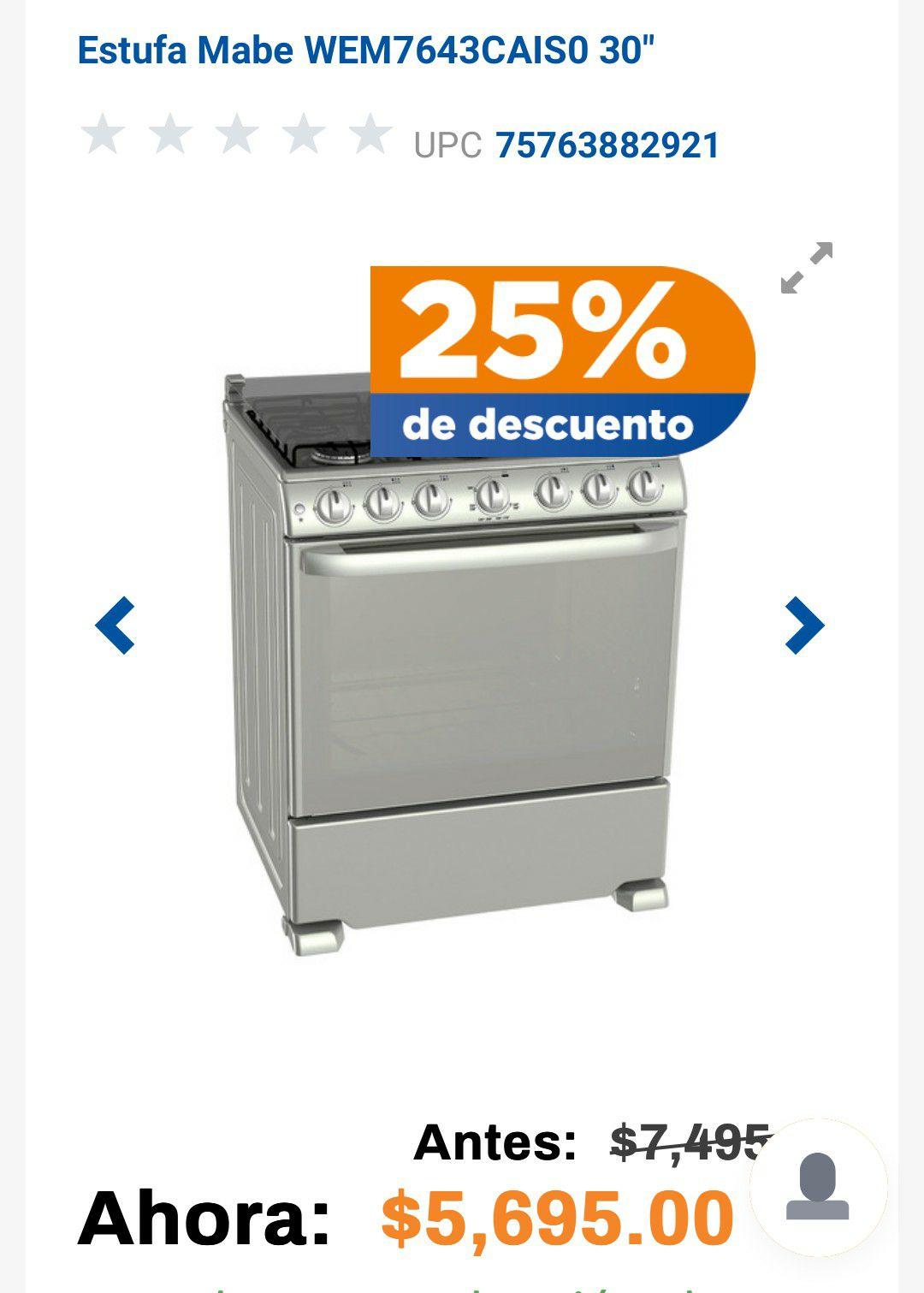 "Chedraui: Estufa Mabe WEM7643CAIS0 30"" a $4271.25"
