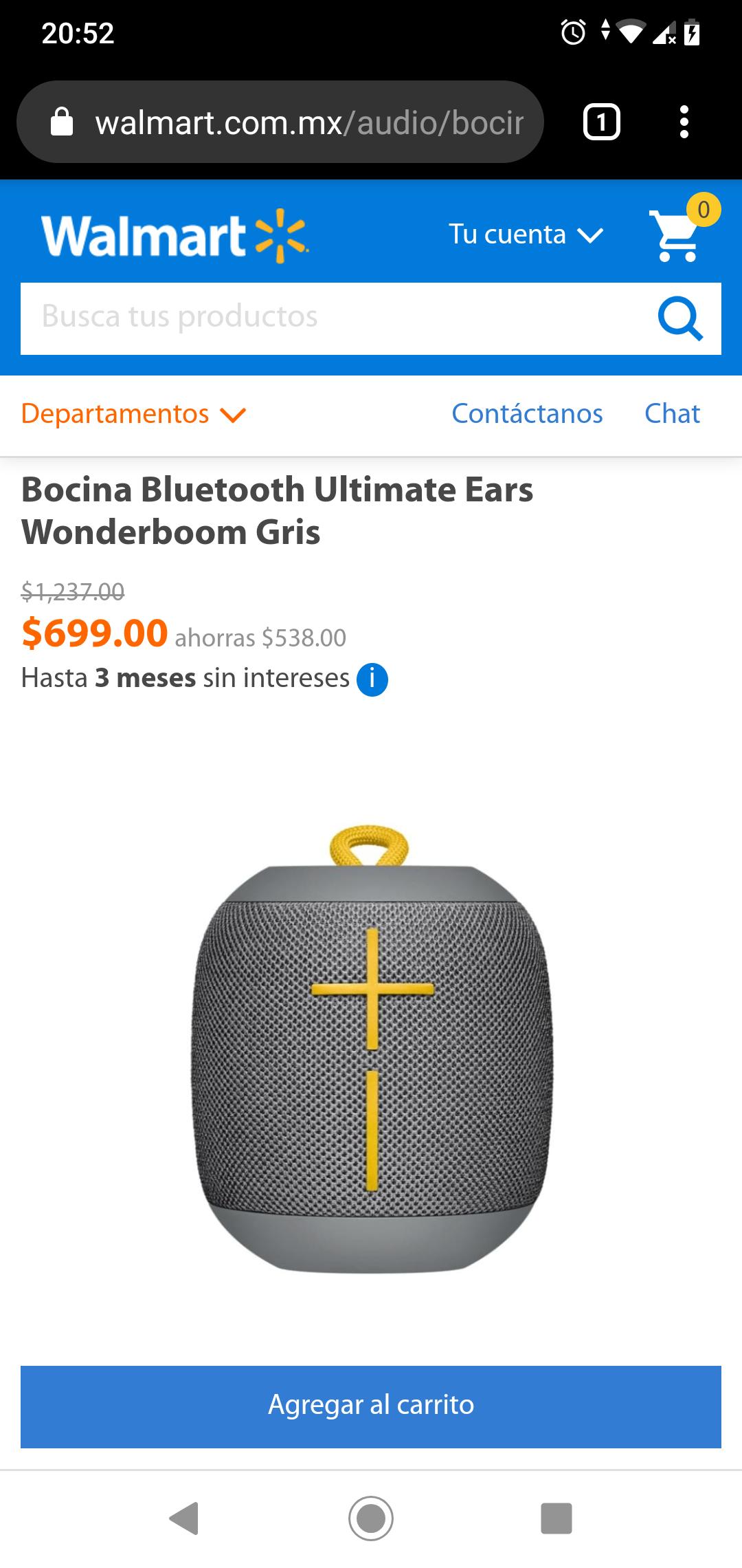 Walmart: Bocina Bluetooth Ultimate Ears Wonderboom Gris
