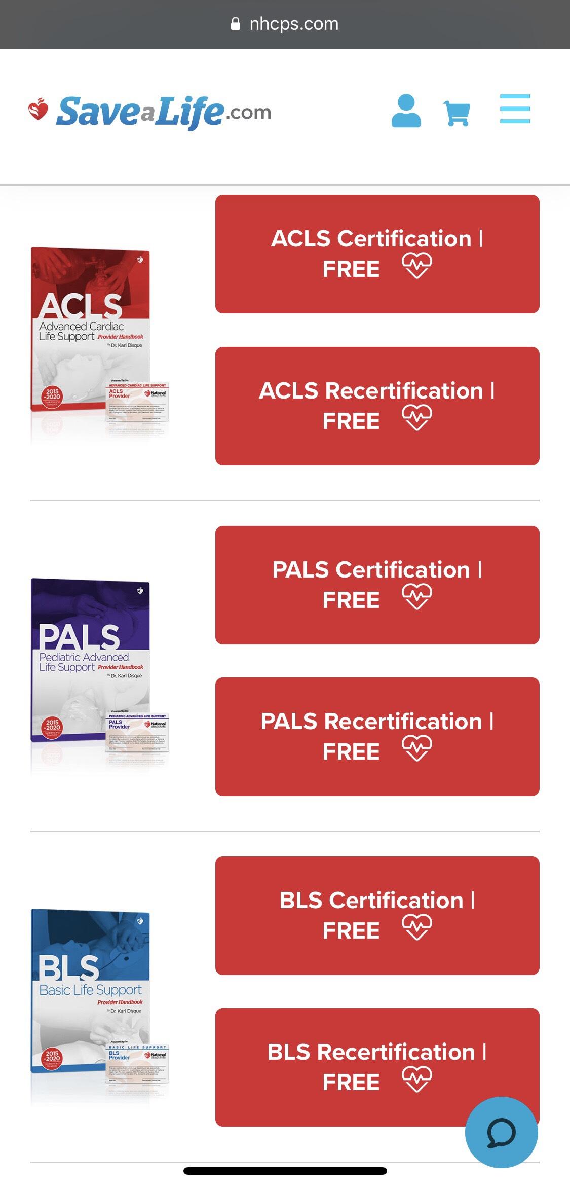 Gratis curso RCP, PALS, BLS, ACLS online con certificación