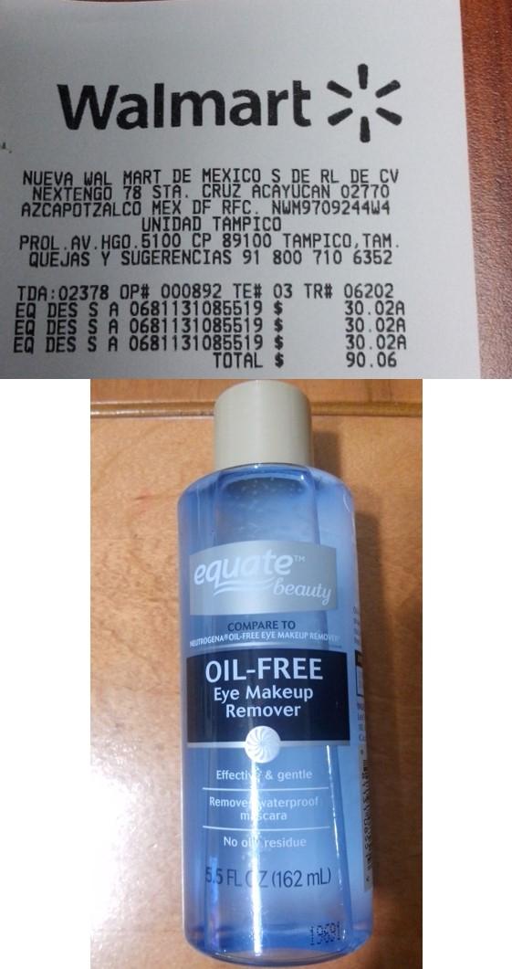 Walmart: Removedor de maquillaje Equate $30.02