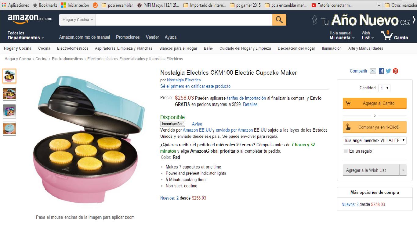 Amazon México: Máquina para hacer Cupcakes