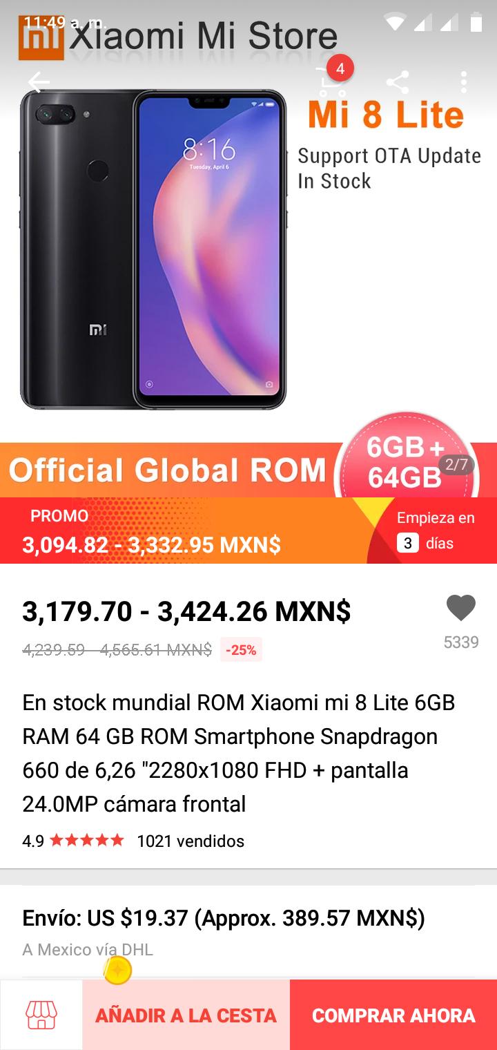 AliExpress: Xiaomi Mi 8 Lite