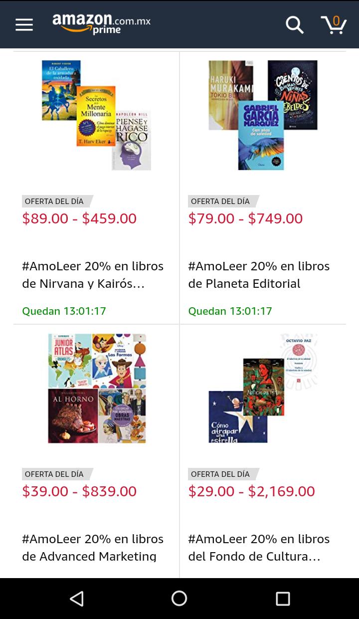 Amazon: 20% de descuento en libros seleccionados #AmoLeer y 10% adicional en libros de texto comprando 3 o más.