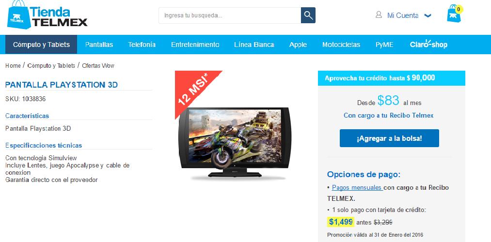 Tienda Telmex: Pantalla Playstation 3D a $1499 y 12 meses sin intereses con cargo a recibo Telmex