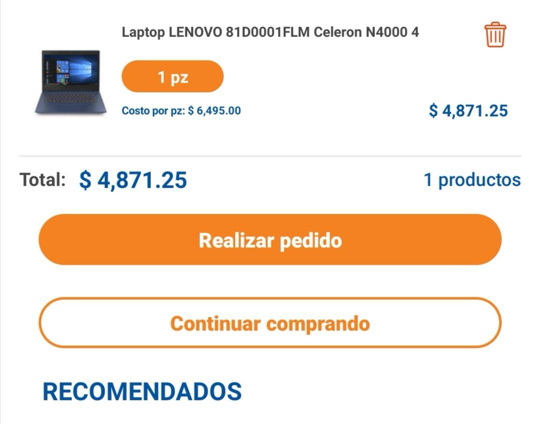 Chedraui: Lenovo 1TB 4gb celeron