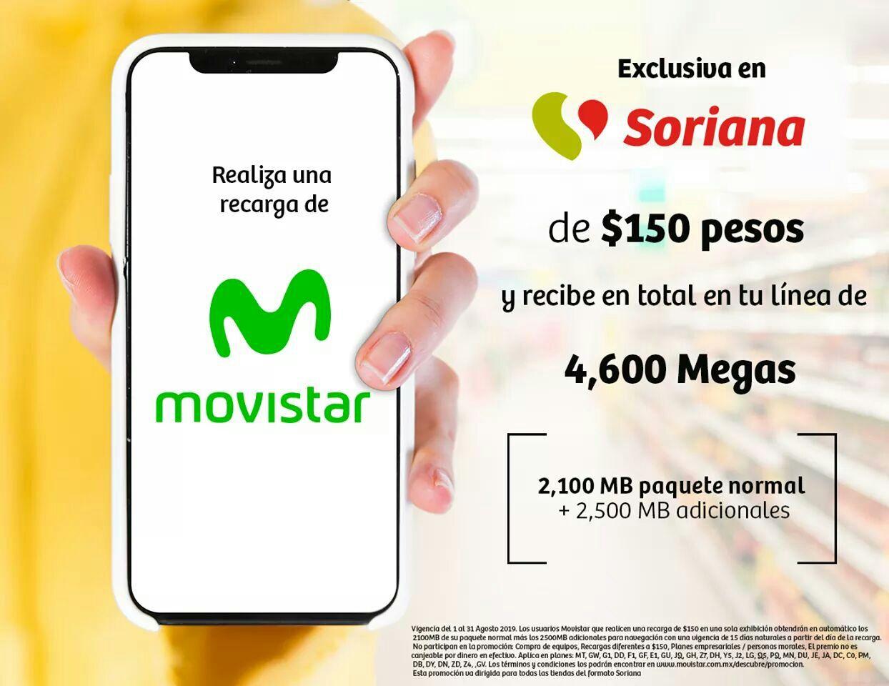 Soriana: Recarga tu Movistar con $150 y te dan 4,600 MB