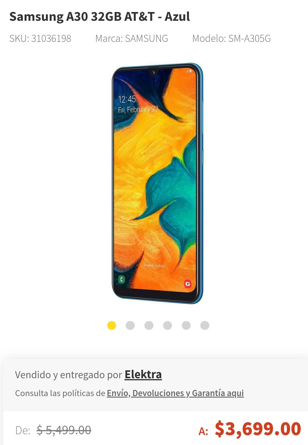 Elektra: Samsung A30 Azul AT&T Relámpago (pagando con Paypal)