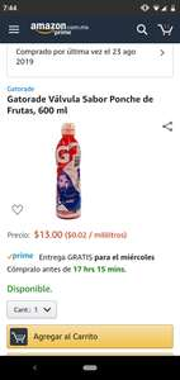 Amazon: Gatorade de 600 ML  $13