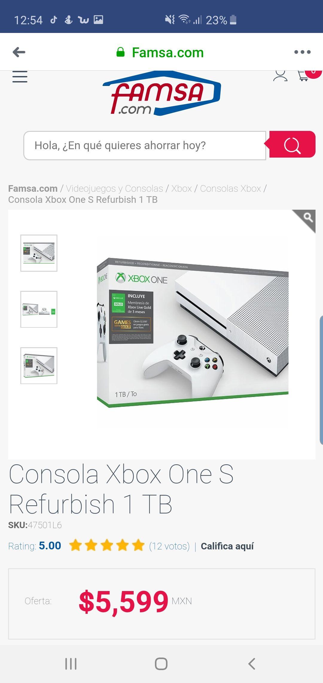 Famsa: Xbox One S 1 Tb + 3 meses de live gold