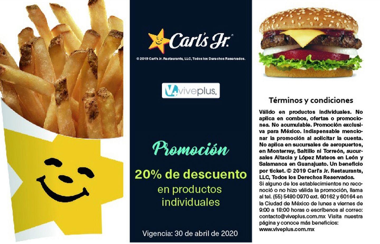 Carl's Jr: 20% de descuento en productos individuales