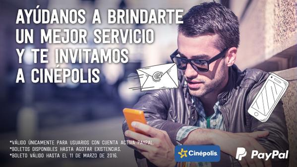 Gratis boleto para Cinépolis contestando encuesta (se necesita PayPal)