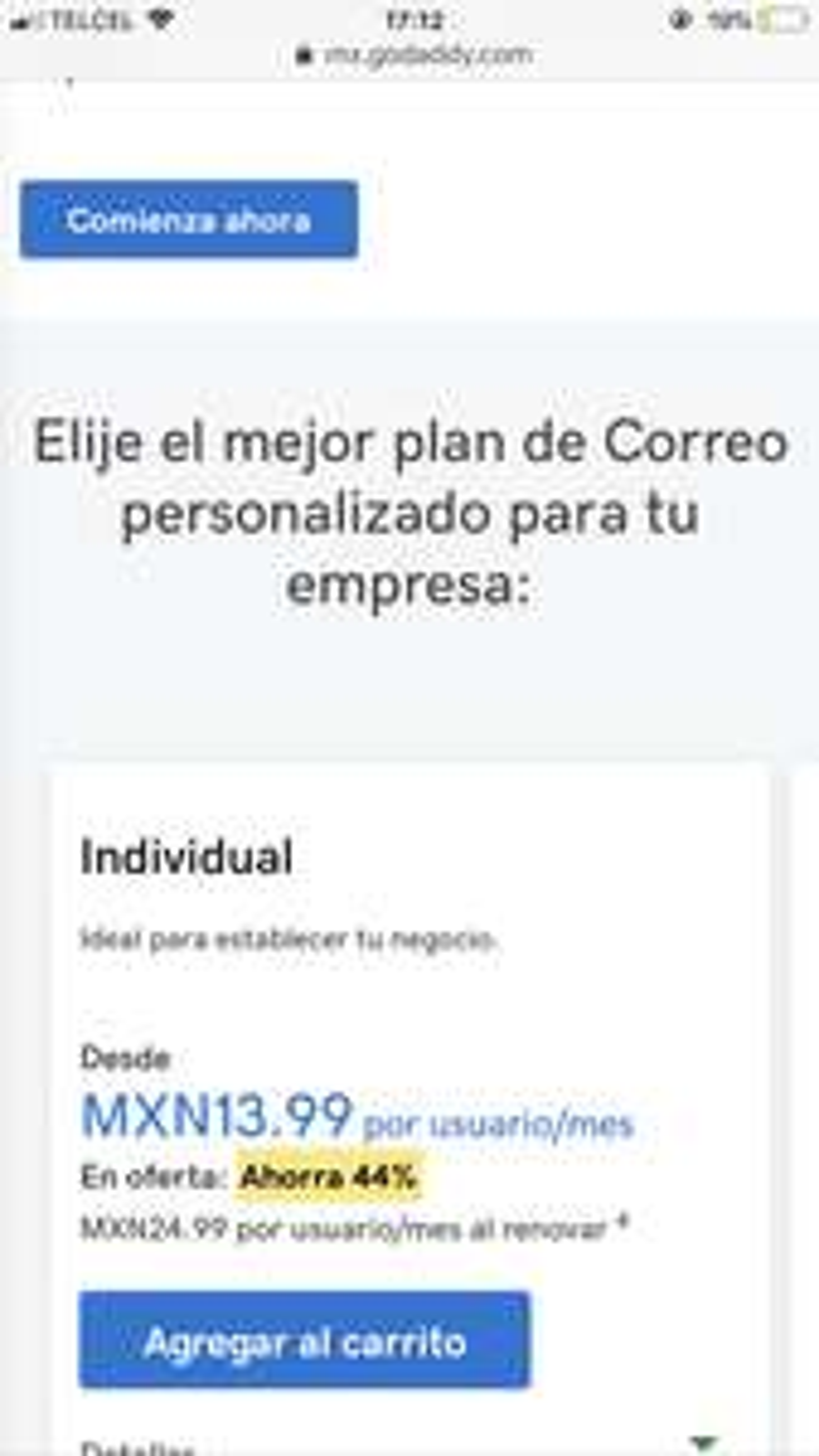 GoDaddy: Correo personalizado