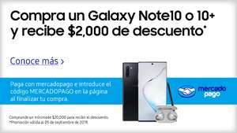 Samsung Store: Galaxy Note 10 con Mercado Pago