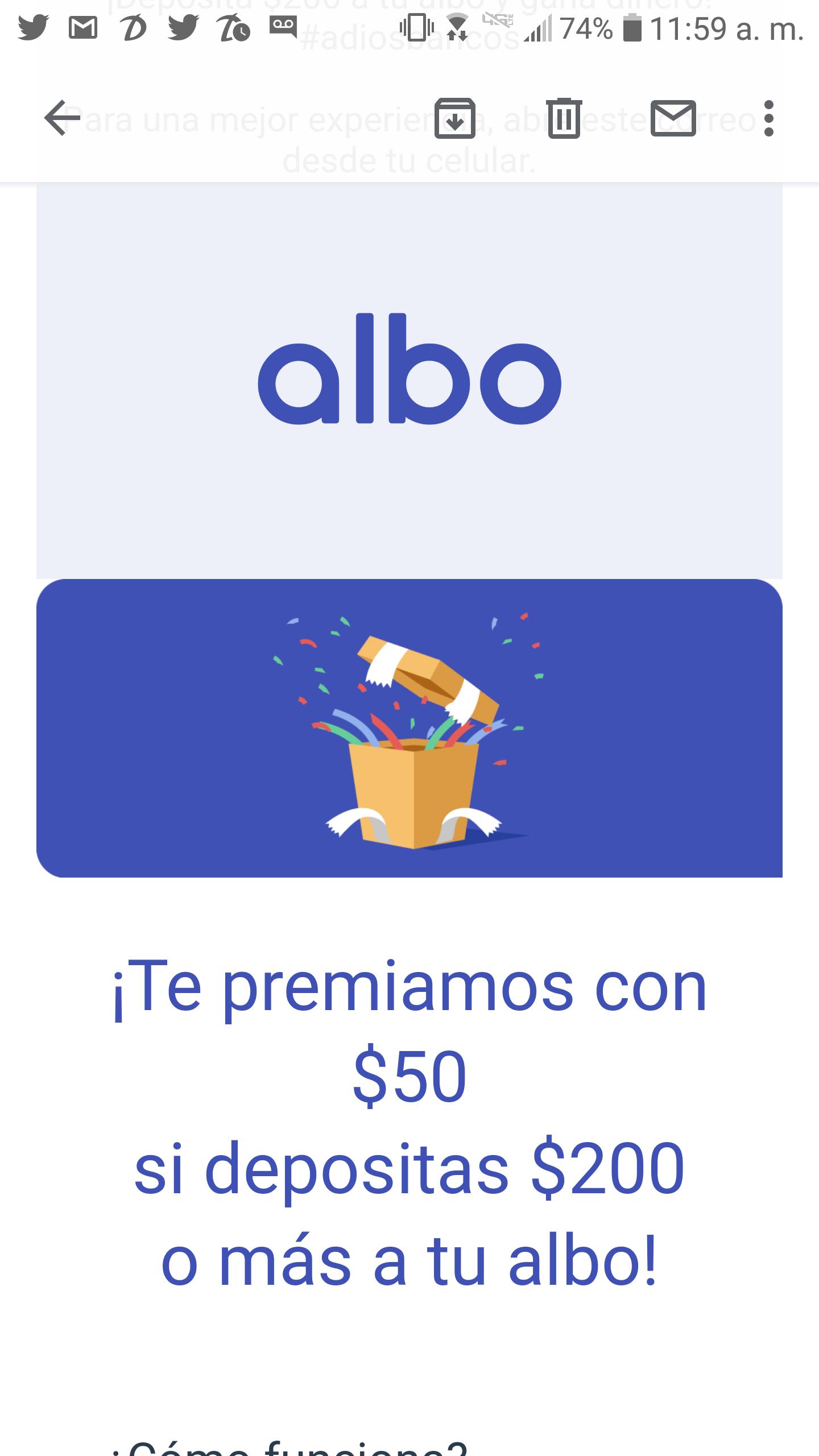 $50 gratis al depositar $200 en albo