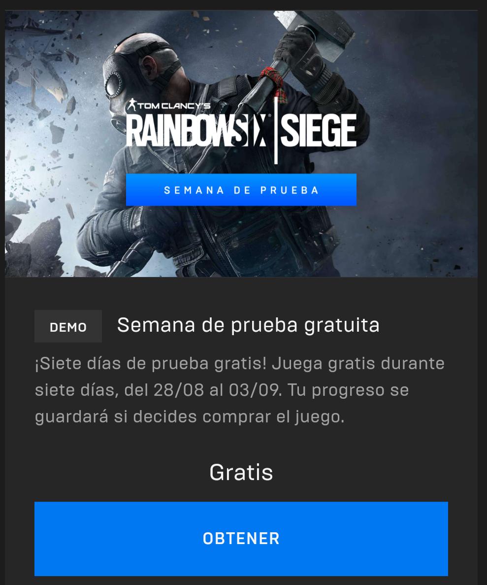 Epic Games: semana de prueba Rainbow Six: Siege