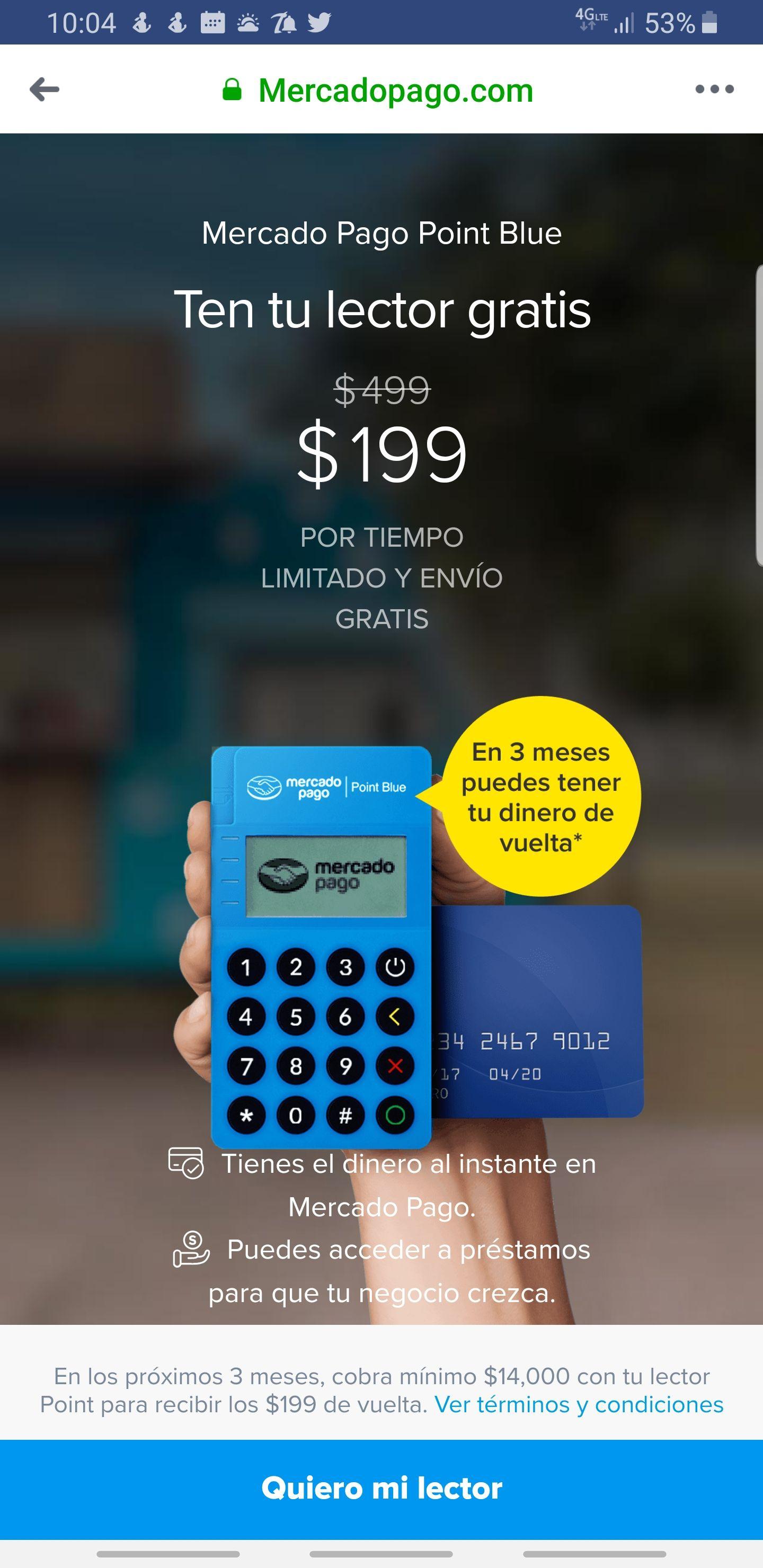 Mercado pago Point blue gratis si cobras $14,000