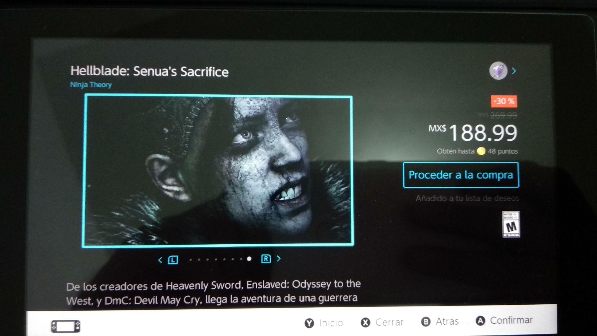 Nintendo eShop: Hellblade Senua's Sacrifice