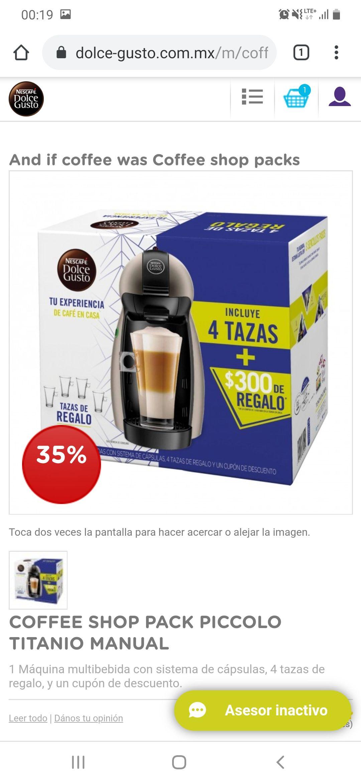 Dolce Gusto: COFFEE SHOP PACK PICCOLO TITANIO MANUAL(LEER DESCRIPCION)+ Envio Gratis+Capsulas