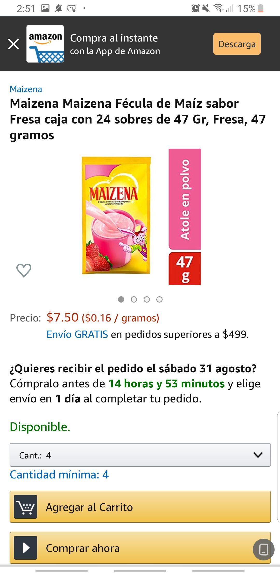 Amazon: caja de 24 sobres de maizena