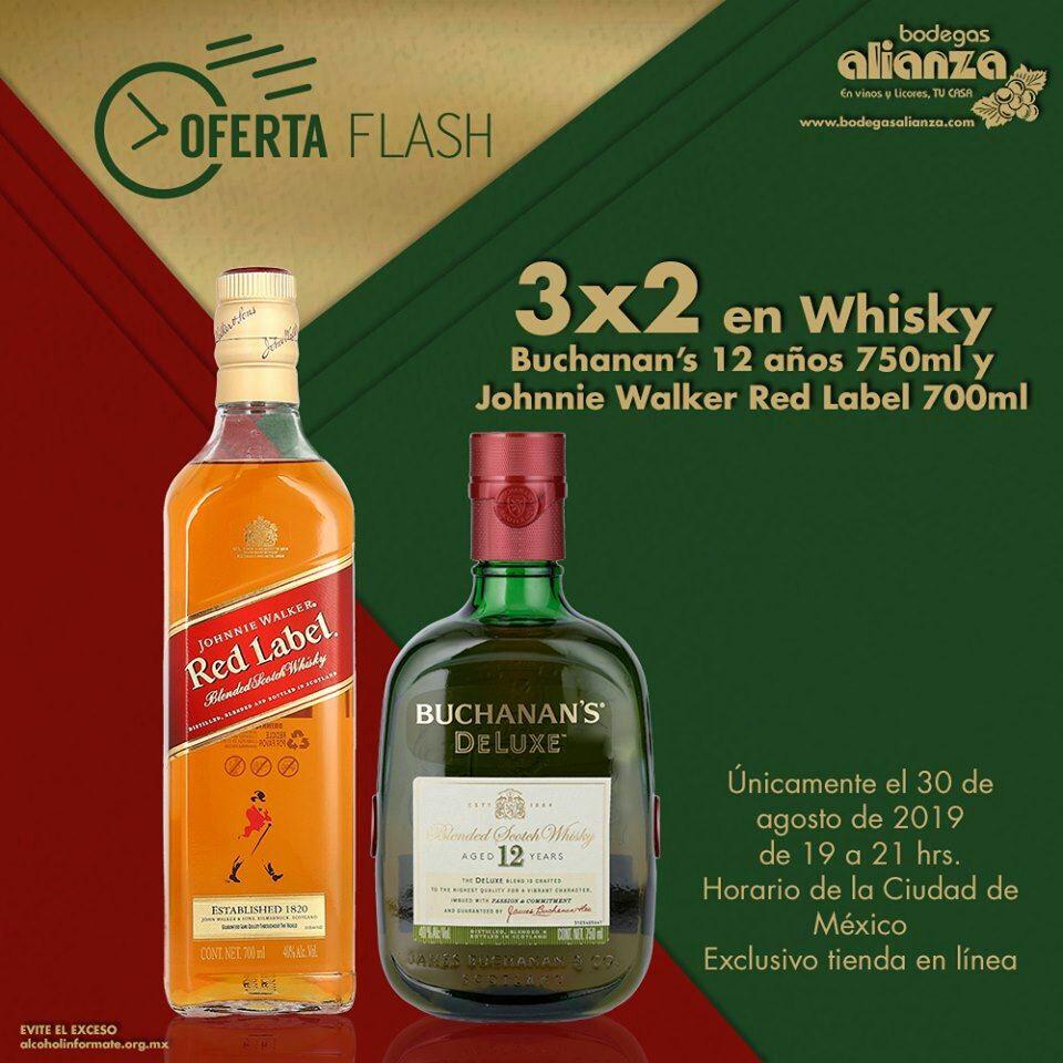 Bodegas Alianza: Flash Sale hoy hasta 10 pm: 3 x 2 en Buchanan's 12 años 750 ml y Johnnie Walker Red Label 700 ml