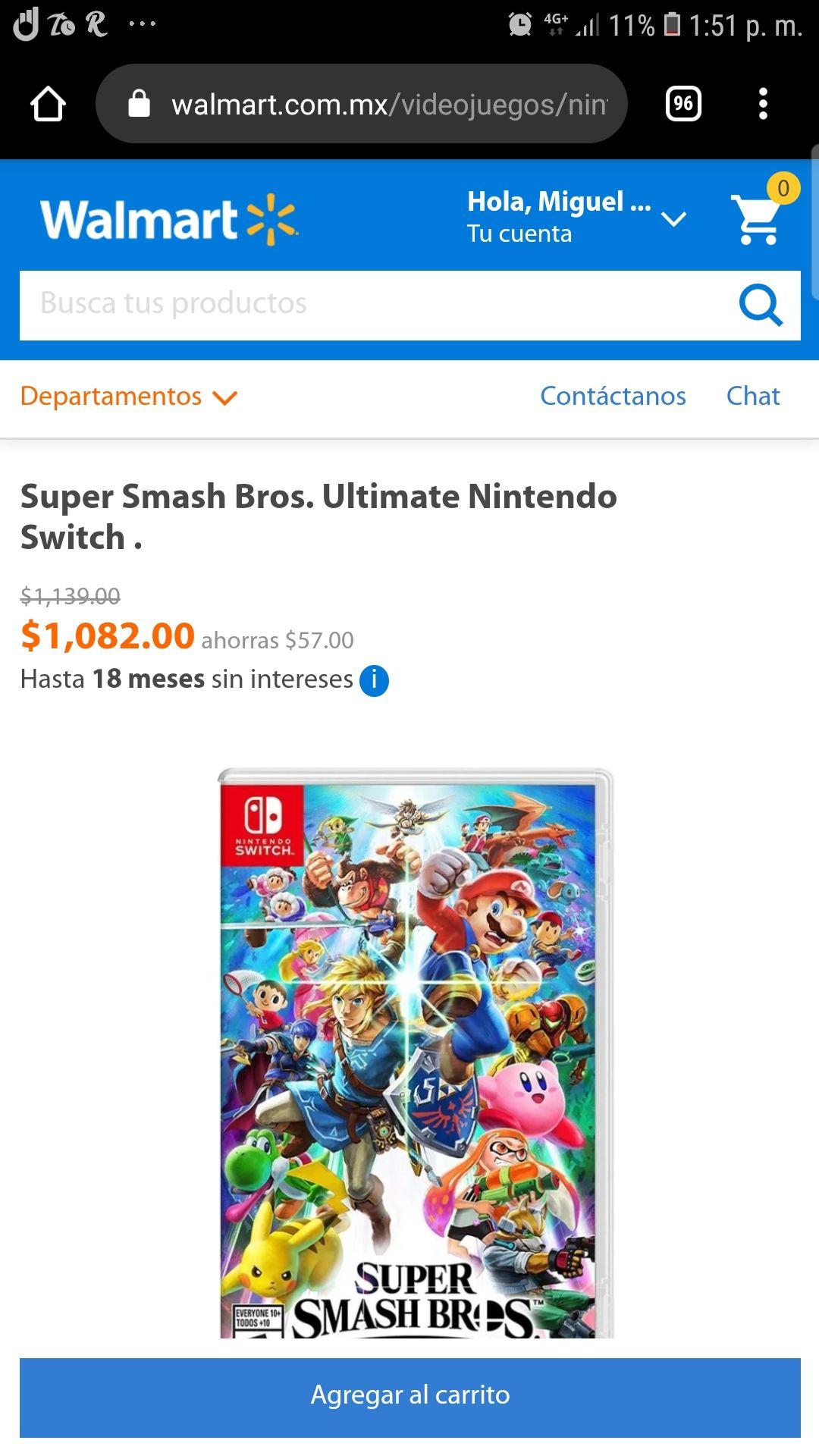 Walmart: Super Smash Bros. Ultimate Nintendo Switch